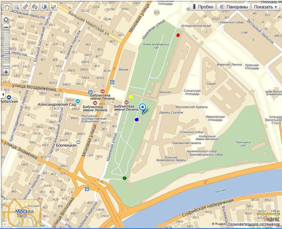 Схема проезда в кремлевский дворец