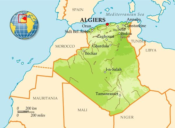Где находиться алжир карта